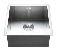 304 Stainless Steel Kitchen Sink Square Single Bowl Water Tap Basin & Waste Kit