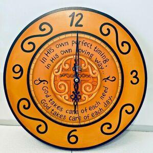 "Wall Clock Wood Christian Religious Cross Church 11"" Prayer"