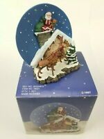 """A Christmas Remembered"" Handcrafted Santa On Chimney Plate w/Stand 1997"