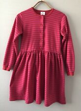 Hanna Anderson Girls Striped Dress Red Pink Size 14-16 160 Long Sleeve