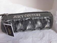 Juicy Couture Cosmetic Bag Barrel Pencil Case Black Scarf Ruffle YSRUS604 NWT