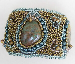 AFRICAN GREEN OPAL & TIGER EYE Swarovski® PEARLS HAND-BEADED CUFF BRACELET