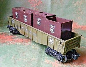 K-line Drop End Gondola ~ US ARMY ~ Rd# DODX 6520 & 4 Ammo Crates - O-27