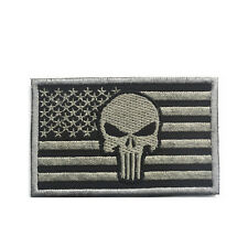 PUNISHER SKULL AMERICAN USA FLAG US ARMY MORALE TACTICAL HOOK LOOP PATCH SLIVER