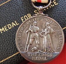 WW2 ERA BRITISH/FOREIGN KING'S MEDAL IN THE CAUSE OF FREEDOM - CASED
