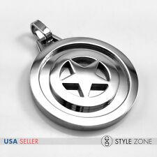 Stainless Steel Man Movie Super Hero Captain America Shield Pendant Silver 14R