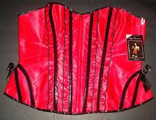 New Leg Avenue Sexy Women's Plus Size Betty Corset Front Zipper Red Satin 1X-2X