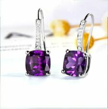 4Ct Cushion Cut Amethyst Diamond Drop & Dangle Earrings 14K White Gold Finish