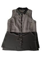 City Chic Womens Plus Size Sheer Sleeveless Collared Shirt Size XS