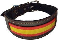 Collar para Perros de Piel Flor con Bandera de España. 4,5 x 43 cm, Marrón
