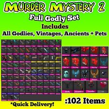 Murder Mystery 2 MM2 Full Godly Set (102 Items) Every Godly Vintage Ancient Pets