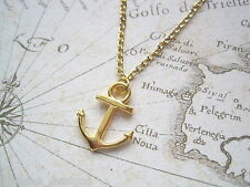 NAUTICAL GOLD ANCHOR CHARM Necklace Gold Plated 18 INCH CHAIN GIFT Sailing