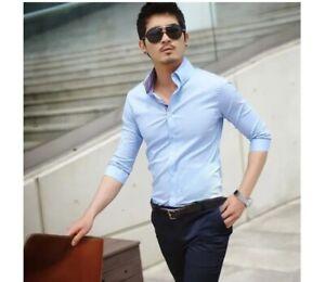 Mens Dress Shirts Luxury Fashion Stylish Casual Slim Fit Half Sleeves Shirts Top