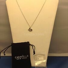 "BRAND NEW! BREAST CANCER HEART RIBBON PENDANT ON 18"" CHAIN BY CARAVELLE NEW YORK"
