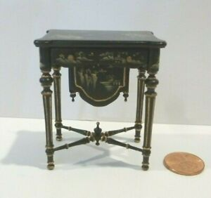 BESPAQ DOLLHOUSE MINIATURE SEWING TABLE  4267 BCH BLACK WITH PAINTED DESIGN