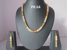 Indian Fashion Multicolor Jewelry Gold Finish CZ Wedding Necklace Earring Sets