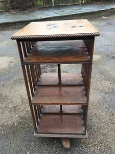 vintage 1900s/30s oak revolving book/magazine stand