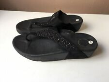 FITFLOP ladies black glitter beach shoes size 5/38