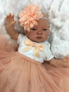 REBORN DOLL HEAVY BABY GIRL PEACH TUTU OUTFIT MAGNETIC DUMMY C