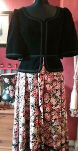 Vintage (70.s) Maxi Dress Annie Gough at Gemini,  Velvet top floral skirt 12