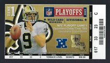 2009-10 NFL NFC DIVISIONAL PLAYOFF CARDINALS @ SAINTS FULL FOOTBALL TICKET BREES