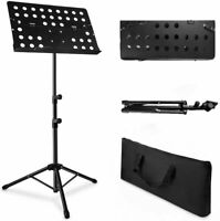Folding Music Stand Portable Lightweight + Sheet Clip Holder & Travel Carry Bag