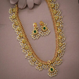 South Indian Bollywood Gold Plated Pearl Wedding Bridal Necklace Earring Jewelry
