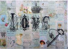 Rice Paper for Decoupage - Love Key   Scrapbooking - Sheet Craft Vintage