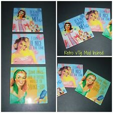 Vintage styled pin up girl fun motto's set of 3 glass Coasters / Barware Dining