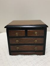 Vintage Wooden Jewelry Music Box Chest Of Drawers Miniature England Tallent