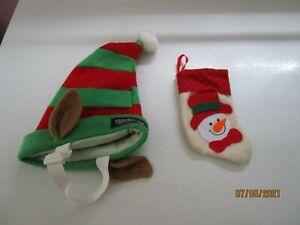 Plush Puppies Christmas Santa Elf Hat Polyester Adjustable & Little Stocking