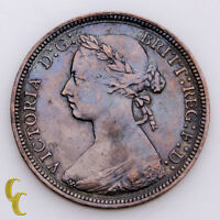 1886 Great Britain 1/2 Half Penny Bronze KM# 754 (Very Fine, VF Condition)
