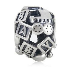 Solid 925 Sterling Silver BABY BLOCKS TEDDY BEAR Charm Bead