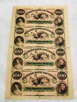 1800'S $100 DOLLARS CITIZENS BANK OF LOUISIANA, NEW ORLEANS,UNCUT SHEET.OBSOLETE