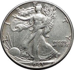 1943 WALKING LIBERTY Half Dollar Bald Eagle United States Silver Coin i44683