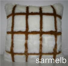 DELUXE WHITE&BROWN FAUX FUR CUSHION COVER-new 35cmx35cm