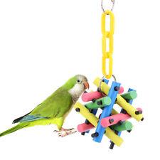 Pet Bird Parrot Cockatiel Chew Bite Wooden Cubes Blocks Swing Hanging Toys