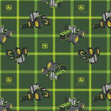 JOHN DEERE FABRIC square Plaid tractors Green fabric tractor BTY CP63750 NEW