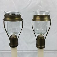 Vintage Retro Mid Century Pair Of Candle Lamp Brass Tops with Glass - Rare