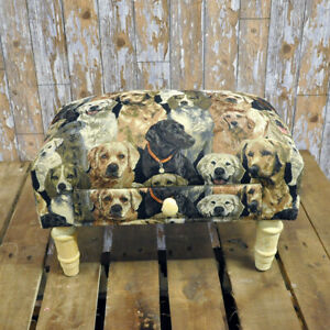 Footstool with Storage Drawer Dogs Tapestry Fabric Footrest Home Decor Ornament