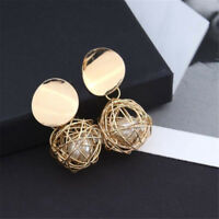Fashion Women Gold Plated Round Pearl Net Dangle Drop Earrings Stud Jewelry W87