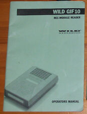 WILD Heerbrugg Leica GIF10 REC Module reader Manual Digital copy emailed as PDF