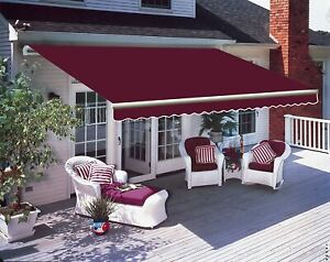 Patio Awning Manual Garden Canopy Sunshade Retractable Shelter Shade 3*2.5M UK