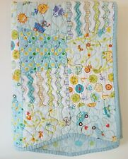 Pretty Blue Baby Quilt with Trapezoid Shaped Pieces Polka Dots Critters More