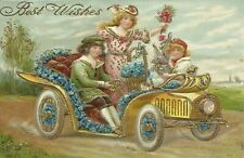 Embossed Automobile Antique Car Floral Best Wishes 1910 Postcard 681