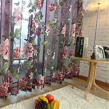 Purple Floral Tulle In Sheer Curtains for Living Room  Kitchen Shade Window
