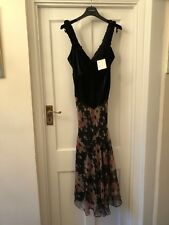 New Nicole Farhi Black Velvet & Floral Silk Vintage Look Midi Dress,UK12