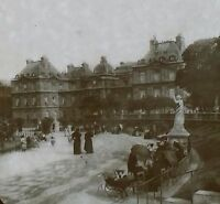 Circa 1900,Luxembourg Palace Gardens, Paris, France, Magic Lantern Glass Slide