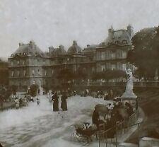 Circa 1900,Luxembourg Palace Gardens, Paris, France, Magic Lantern Glass Slide