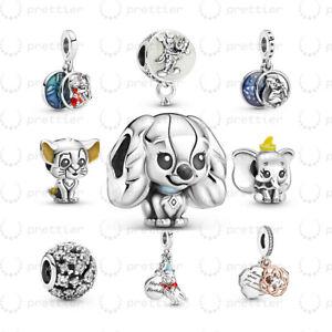 925 Sterling Silver Lady Simba Dumbo Mickey Mouse Lilo Stitch fit Charm Bracelet